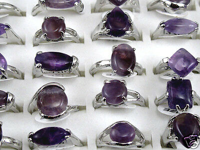5/10/20X wholesale natural anomalous purple crystal gemstone rings (size 6-9)