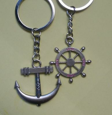 key chain Ring keychain Fashion Metal couples lovers Anchor & rudder love SL16L