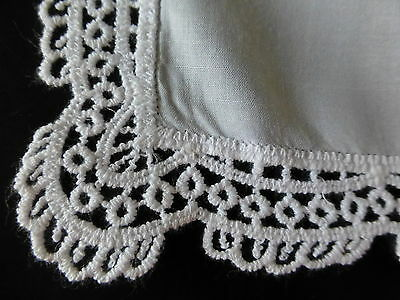 White cotton handkerchief with lace trim