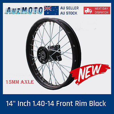 "Black 15mm axle 60/100- 14"" Inch Front Wheel Rim Knobby Tyre PIT PRO Dirt Bike"