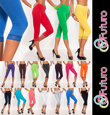 Cropped 3/4 Lenght Cotton Leggings With Lace All Colours & All Sizes