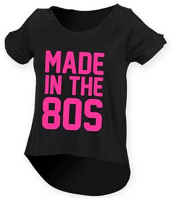 MADE IN THE 80s Ladies Drop Tail Top 8-18 80's Outfit Fancy Dress Costume Neon