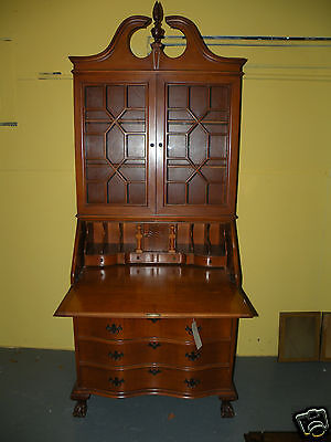 Antique Furniture Ball & Claw Drop Front Secretary Desk Bookcase Cabinet NY