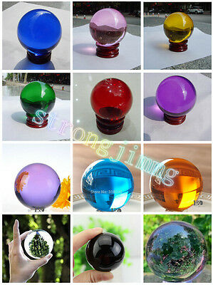 HOT!Magic Asian Ball Natural Crystal Sphere 10 Colors 40MM + Stand