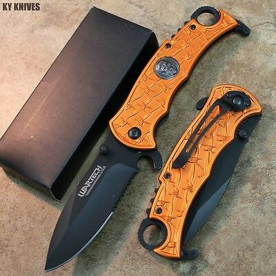 """8"""" Zombie Skull Tactical Combat Spring Assisted Open Pocket Knife 10125-OR zix"""