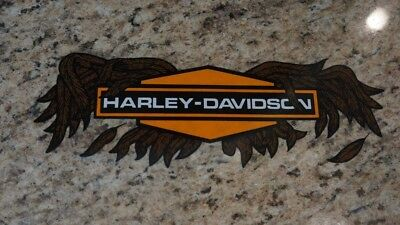 Vintage Harley Davidson Broken Wing Window Inside Application Window Decal 11.5""