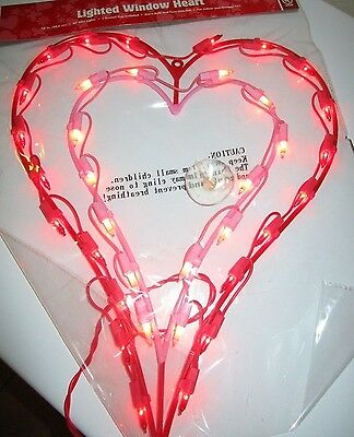 """VALENTINE'S DAY LIGHTED RED & PINK DOUBLE HEARTS 16"""" NIP"""