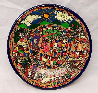 """Hand Painted Clay Plate Plaque Wedding Village Scene Mexico Folk Art 8"""" Signed"""