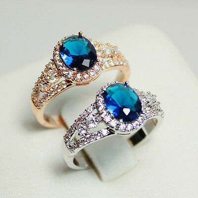Fashion Oval Cut 18KGP Gold Plated Simulated Sapphire Ring use Swarovski Crystal