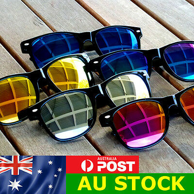 Classic Wayfarer Sunglasses with Reflective Mirror Lens - Retro Style  FREE POST