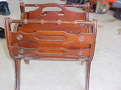 ANTIQUE WOOD DETAIL Mahogany/Cherry Magazine Rack/Stand~MUSIC~ALBUMS~BUTLER?~~~~
