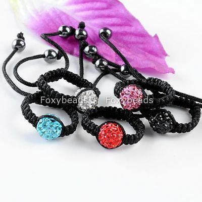 1pc Polymer Clay Crystal Disco Ball Bead Woven Macrame Knitted Finger Ring us6