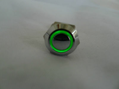 Anti-Vandal Momentary Stainless  Push Switch Car Boat Engine Horn GREEN LED 16mm