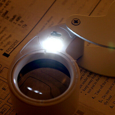 40X 25mm POWER JEWELER LOUPE LED LOOP MAGNIFIER MAGNIFING GLASS LIGHTED F5