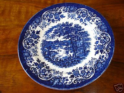 A LOVELY  VINTAGE STAFFORDSHIRE FLOW BLUE & WHITE TRANSFER PRINT PLATE