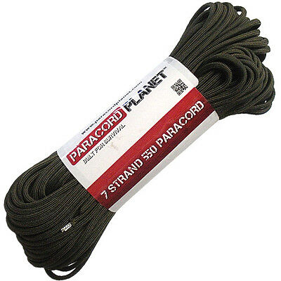 Olive Drab 100' 550 Paracord Mil Spec Type III 7 Strand Parachute Cord 100 ft