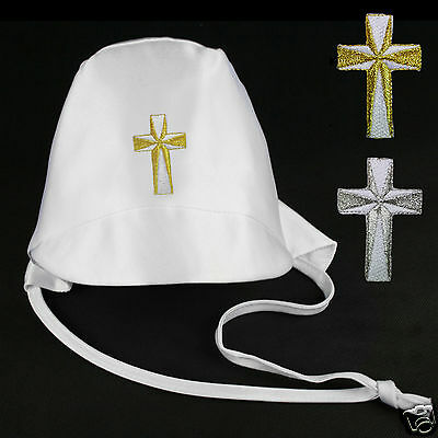 Baby Toddler Boys White Christening Baptism Hat Gold Silver Embroidered Cross