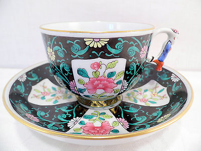 HEREND BLACK DYNASTY,SIANG NOIR,TEA CUP AND SAUCER,MASTER PIECE