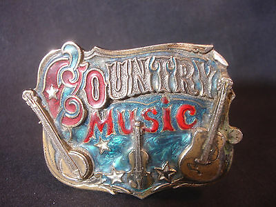 Old Vtg The Great American Buckle Country Music Belt Buckle USA Guitar Bango