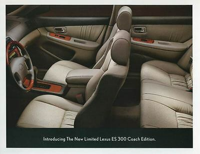 2001 Lexus ES300 Coach Edition Interior ORIGINAL Large Factory Postcard my2200