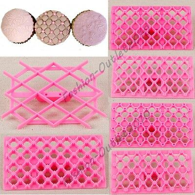 Mixed Styles Quilting Embosser Stampo Cake Fondant Cutter Decorating Mould Tools