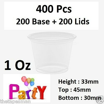 400 Pcs, 200 Base + 200 Lids: 1Oz (30ml)  Round Sauce Take Away Containers