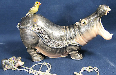 Hippopotamus Jeweled Pewter Trinket Box w/necklace Wildlfie