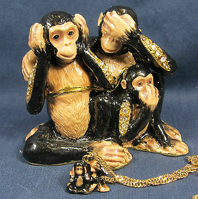 Evil Monkeys Jeweled Pewter Trinket Box w/necklace Wildlfie