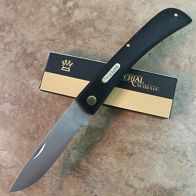 "Imperial Schrade Vintage Black 4 5/8"" LARGE Sodbuster Pocket Knife IMP22L zix"