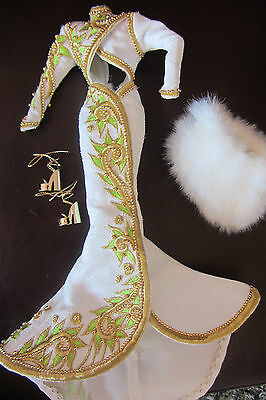 """BARBIE GOWN - WHITE WITH GOLDEN TRIM ACCENTS  """"RADIANT REDHEAD""""  BEAUTIFUL"""