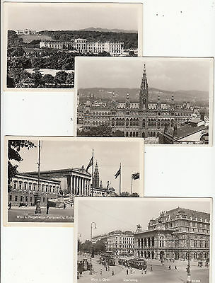 Postcards Austria group of 8 buildings in Vienna by P Ledermann, some hand stamp