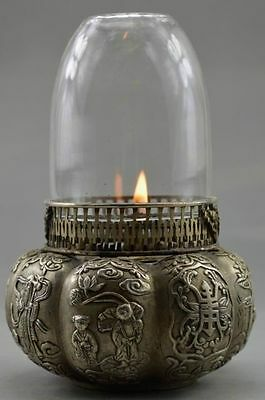 Collectible Decorated Old Handwork Tibet Silver Carved Tomato Immortal Oil Lamp