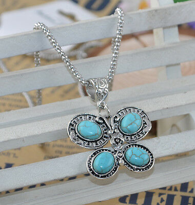 New Classical Natural hot Turquoise cute tibet silver Necklace+Pendant H-2580