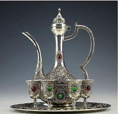 China'Vintage Handwork Silver Copper Inlay Beads Teapot