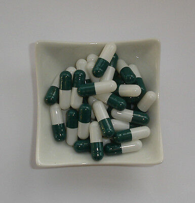 100 Empty  GREEN and WHITE size 1 capsules self fill  Gelatine gelatin