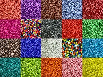 50g glass seed beads - Opaque, size 8/0 (approx 3mm) - choice of colours, craft