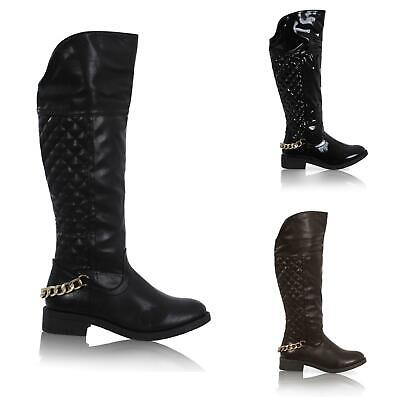 Womens Ladies Mid Calf Quilted Riding Boots Chain Under Knee Shoes Size 3-8