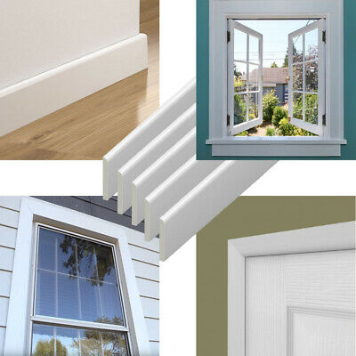 95mm uPVC Architrave - Plastic Skirting Board - Window / Door Trim - 1m - White