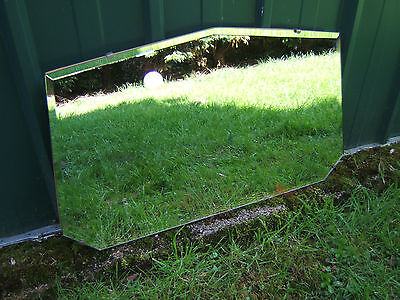 """Vintage frameless wall mirror with bevelled glass VRC 24"""" x 14""""  7 sided.  NF3"""