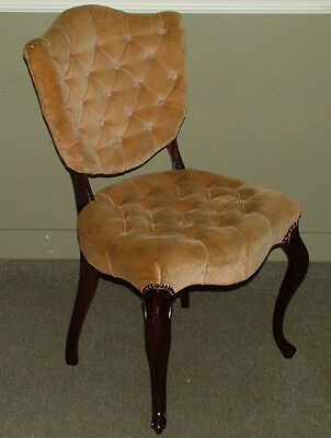 6391: Vintage Vanity Boudoir Carved French Tufted Chair HOLLYWOOD REGENCY