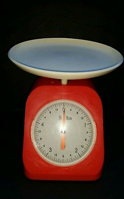 Vintage Orange/Red 5 lb Scale Made in Japan Retro Functional Fabulous Funky