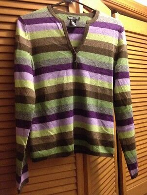 DANIEL BISHOP CASHMERE SWEATER LADIES MEDIUM - V NECK WITH TWO BUTTONS