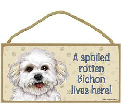 "Spoiled Rotten Bichon Frise Lives Here  10"" x 5"" Sign Plaque dog"