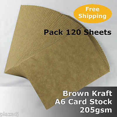 120 sheets Kraft Brown ReCycled Enviro Card A6 Size 205gsm #S0102 #D1