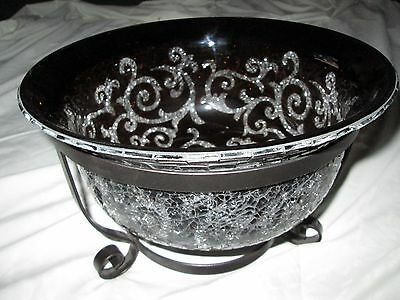 PARTYLITE AMARETTO SWIRL 3-WICK CANDLE HOLDER LARGE BOWL WITH TEALIGHT RING