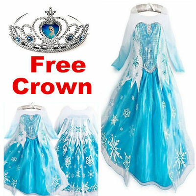 Frozen Costume Elsa Anna Dress Up Gown Queen Princess Birthday Party Tutu Dress