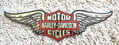 Harley Davidson Retro Gold Wing Bar and Shield Mini Window Decal Inside Lot of 2