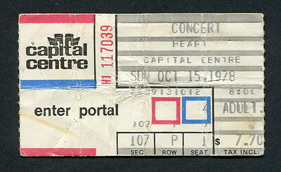 Original 1978 Heart concert ticket stub Capital Centre Dog And Butterfly