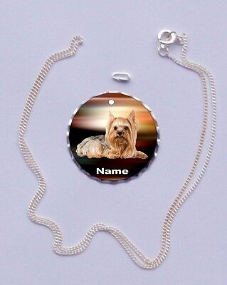 Yorkshire Terrier Personalized Large Charm with Silver Plated Necklace ANY PHOTO