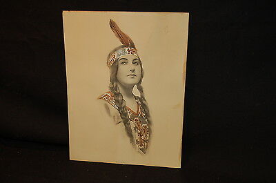 1912 Shlesinger Brothers Hand Colored Print Indian Maiden New York